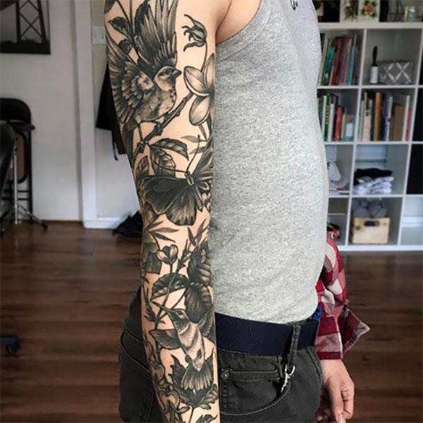 Doğa teması kol dövme modelleri