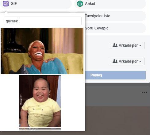 Facebook'ta durum veya yoruma gif nasıl eklenir 3