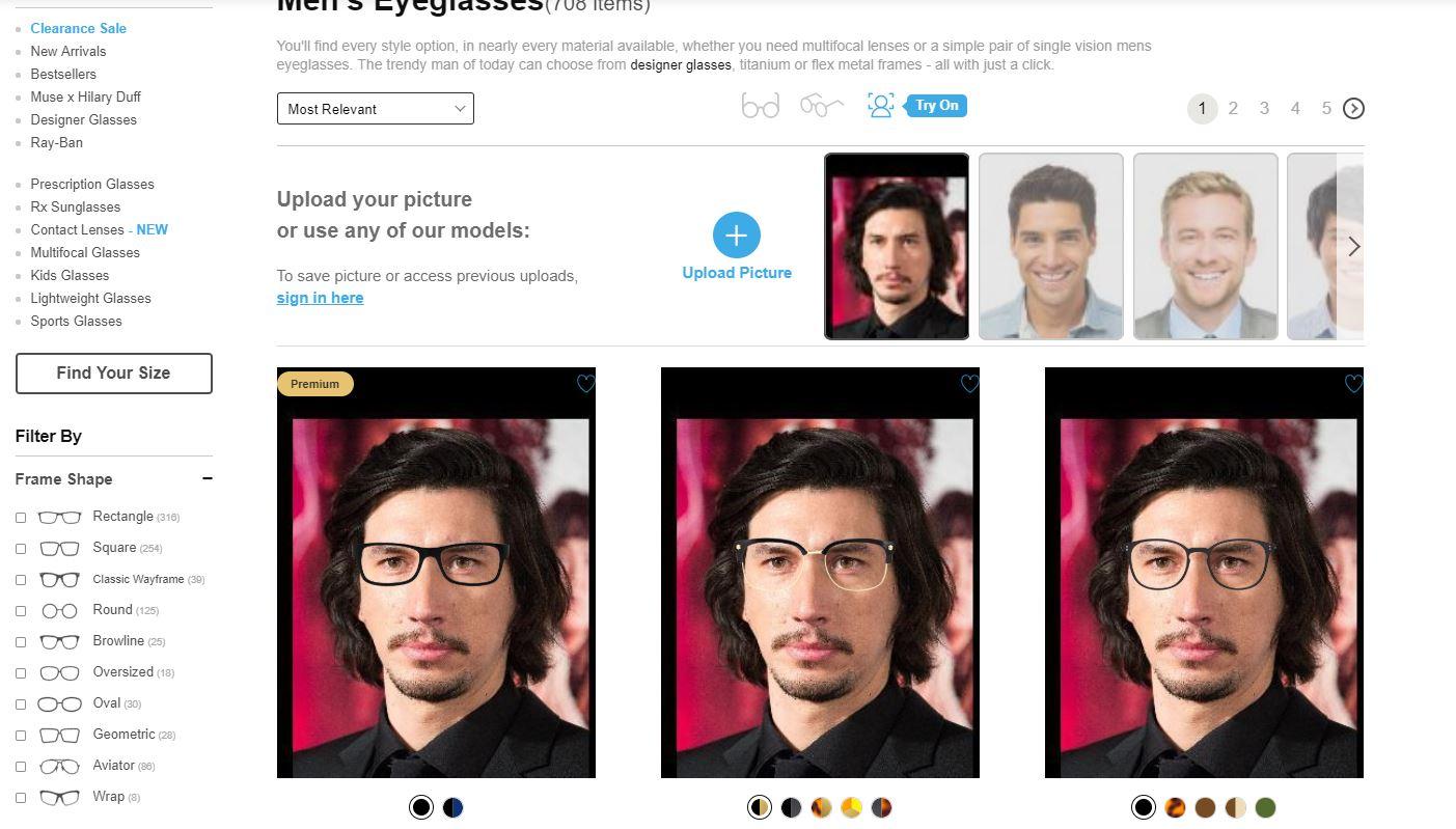 Sanal gözlük denemesi