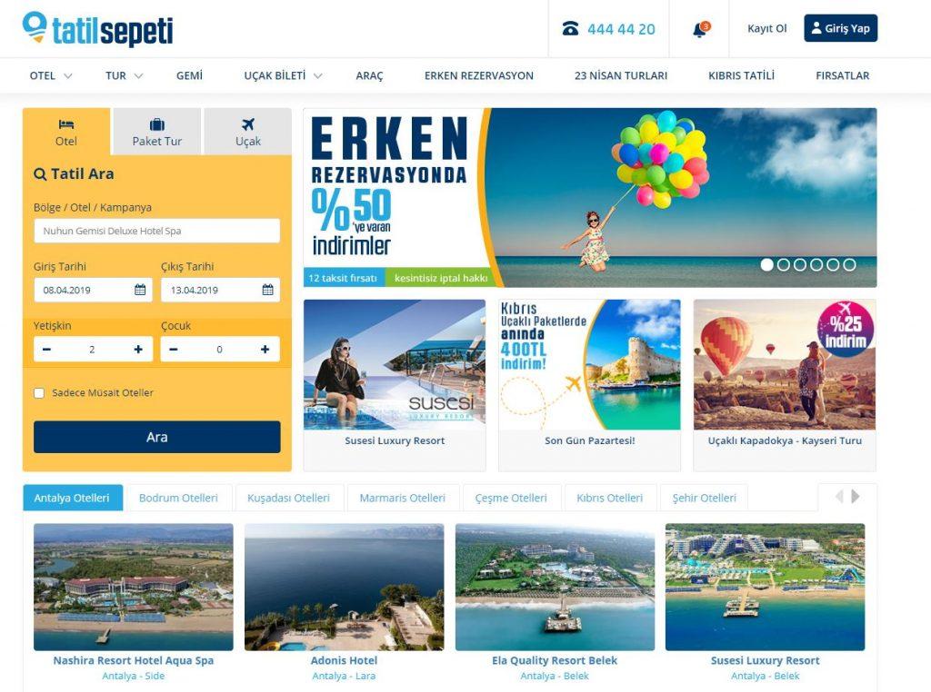 Türkiye çapında otel, tur, ve uçak rezervasyonu yapma imkanı veren firmanın tanıtımı.