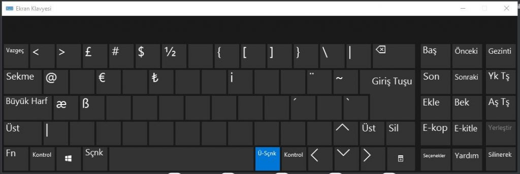 Windows Ekran Klayvesi @ İşareti Nasıl Yapılır