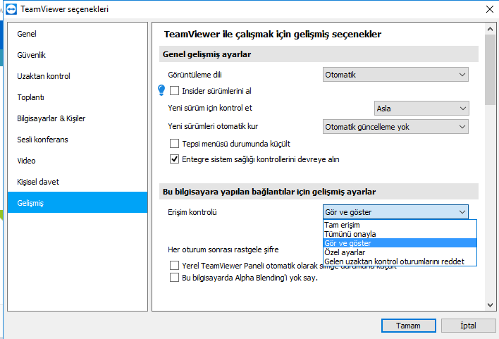 TeamViewer Dosya Aktarım Engelleme