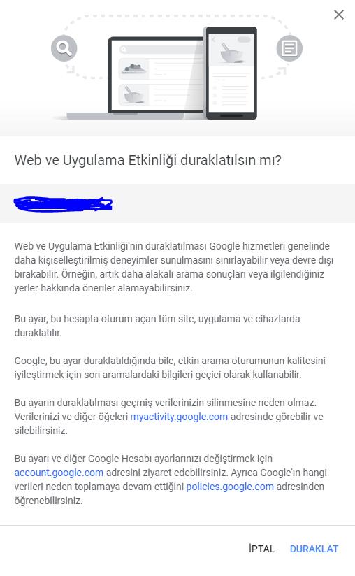 Google Arama Geçmişi Kapatma