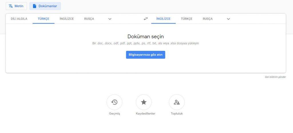 Google Doküman translate