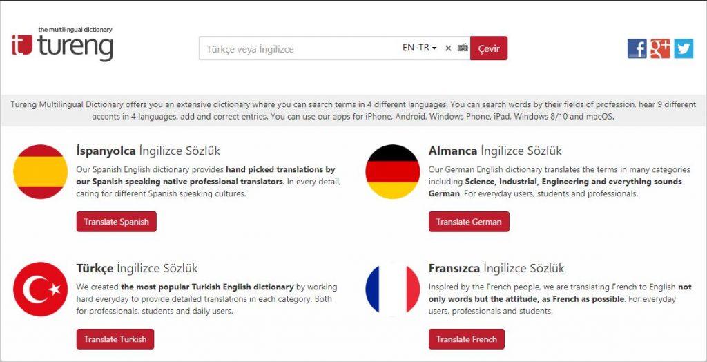Tureng.com ingilizce, almanca çeviri sitesi