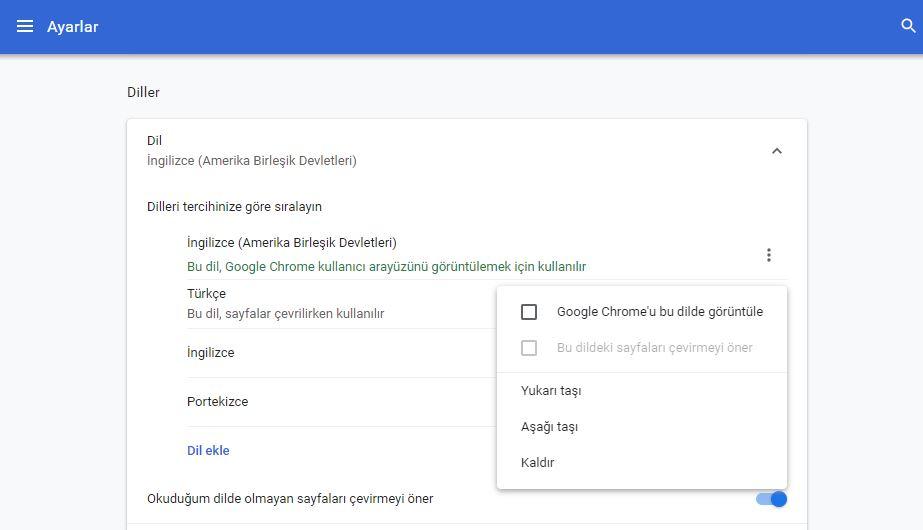 Chrome Diller sayfası