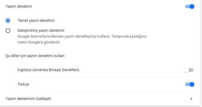 Google Chrome yazım denetimi Türkçe yapma