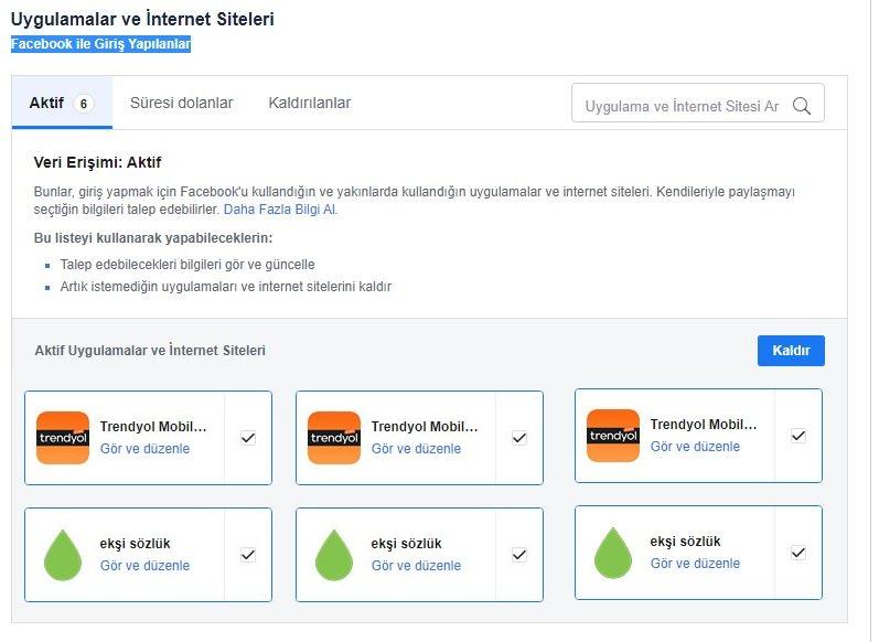 Facebookla hesapla ilişkili uygulama ve siteler