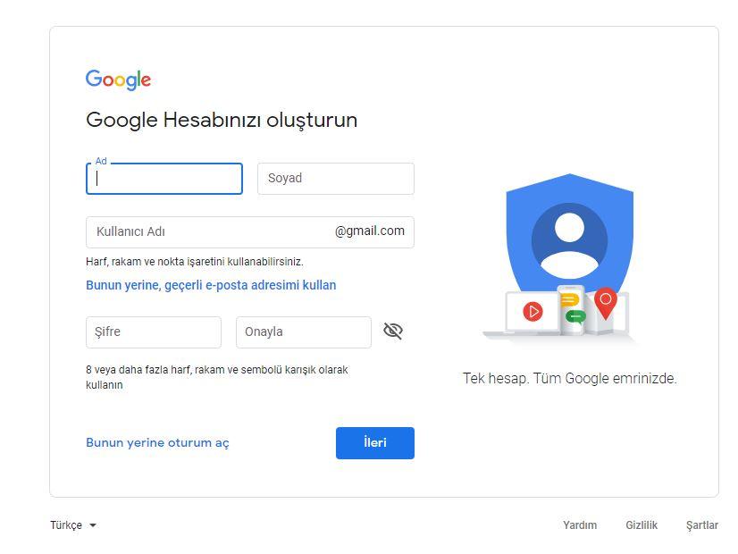 Gmail e-posta hesabı aç