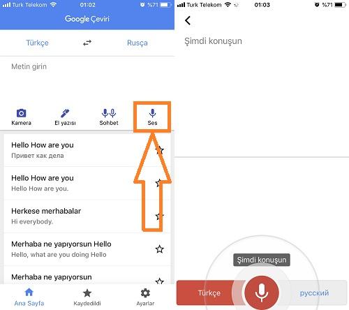 Google Çevirinin sesli çeviri özelliği