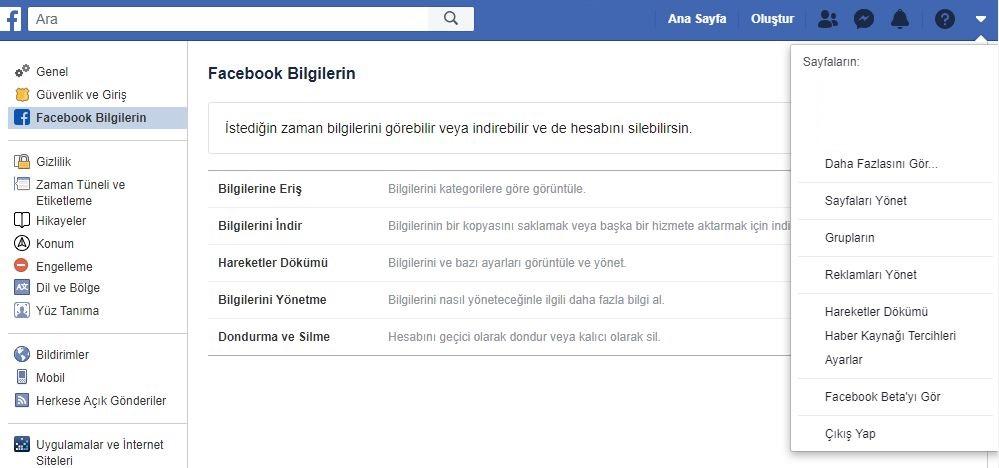 Facebook hesap ayarları