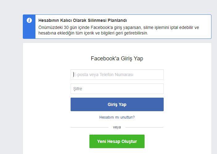 Facebook kalıcı hesap silme onayı