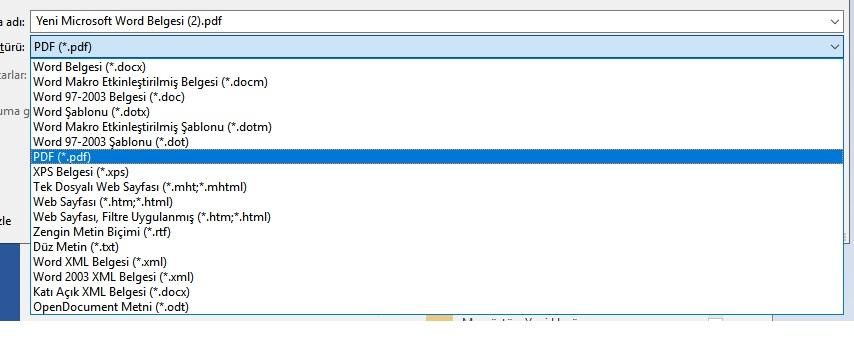 Word  Farklı Kaydet ile PDF dosyasını kaydedin