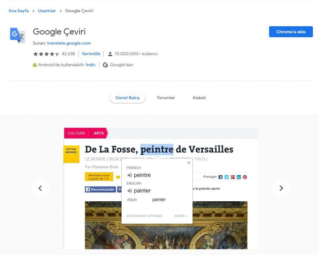 Chrome sağ tık ve kelime çeviri eklentisi