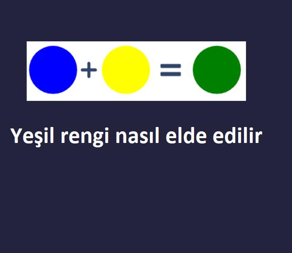 Yeşil rengi hangi renklerin birleşimi ile oluşur 1