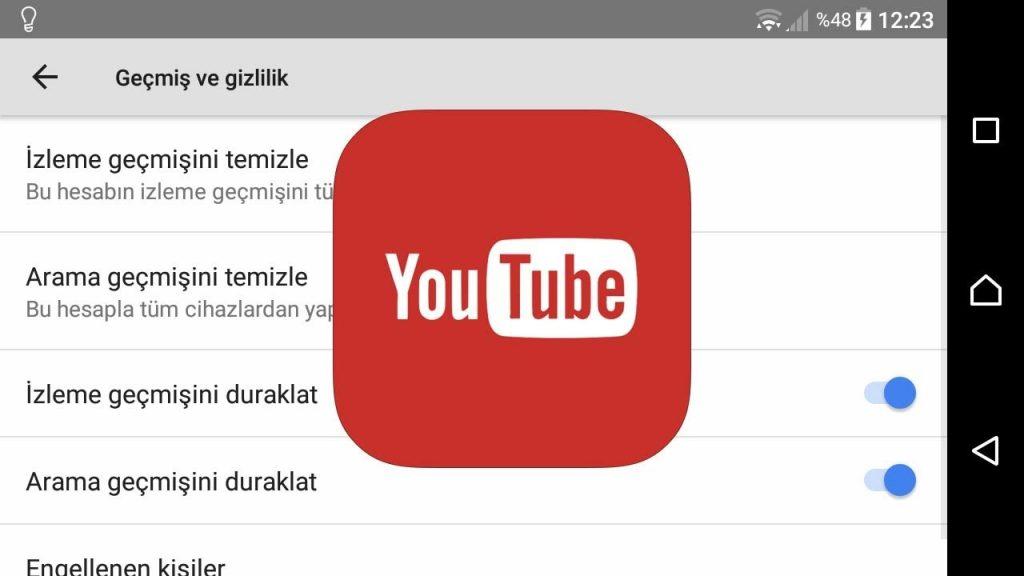 YouTube arama ve izleme geçmişi telefondan silme